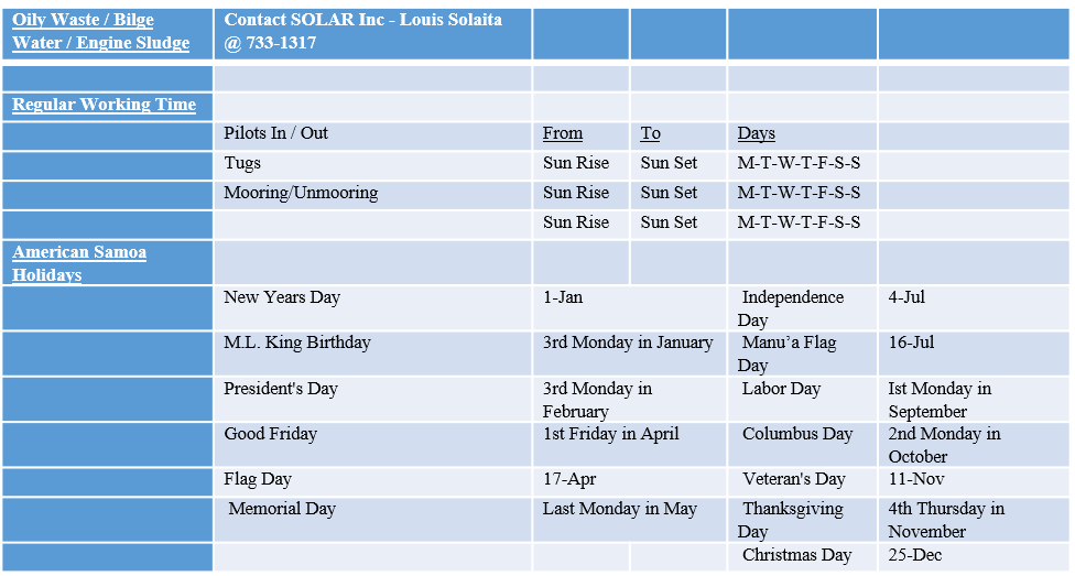 Port Charges & Fees - American Samoa | Department of Port
